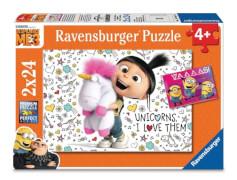 Ravensburger 78110 Puzzle Agnes und die Minions, 2x24 Teile