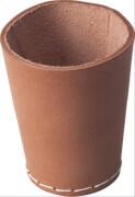 Würfelbecher aus Rind-Naturleder (inkl. 6 Würfel), 9 cm